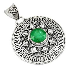 925 sterling silver 3.24cts natural green emerald round pendant jewelry r9303