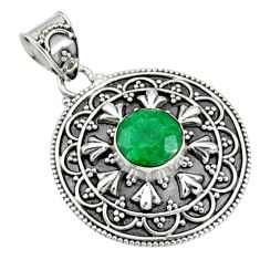 3.02cts natural green emerald 925 sterling silver pendant jewelry r9306