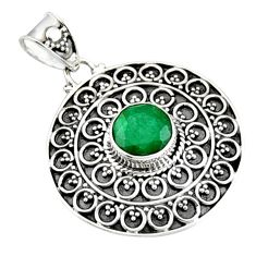 3.32cts natural green emerald 925 sterling silver pendant jewelry r9308