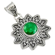 3.41cts natural green emerald 925 sterling silver pendant jewelry r9309
