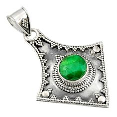 3.14cts natural green emerald 925 sterling silver pendant jewelry r9310