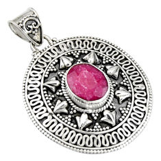 4.07cts natural red ruby oval 925 sterling silver pendant jewelry r9312