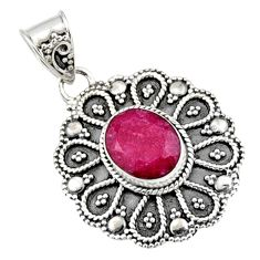 925 sterling silver 4.38cts natural red ruby oval pendant jewelry r9318