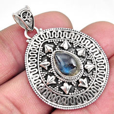 925 sterling silver 2.71cts natural blue labradorite pear pendant jewelry r9323