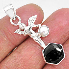 4.82cts natural black onyx pearl 925 sterling silver angel pendant r93306