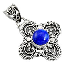 3.36cts natural blue lapis lazuli 925 sterling silver pendant jewelry r9343