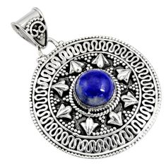 3.31cts natural blue lapis lazuli 925 sterling silver pendant jewelry r9347
