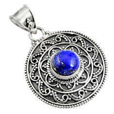 3.02cts natural blue lapis lazuli 925 sterling silver pendant jewelry r9349