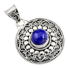 3.01cts natural blue lapis lazuli 925 sterling silver pendant jewelry r9350