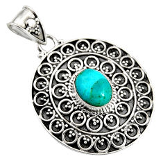 925 sterling silver 3.53cts natural blue campitos turquoise oval pendant r9351