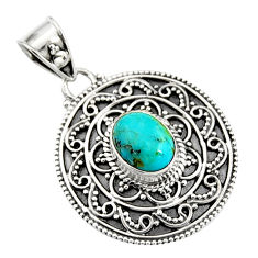 3.42cts natural blue campitos turquoise 925 sterling silver pendant r9354