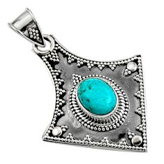 3.19cts natural blue campitos turquoise oval 925 sterling silver pendant r9355