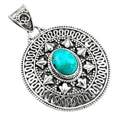 3.53cts natural blue campitos turquoise 925 sterling silver pendant r9360