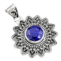 5.42cts natural blue sapphire 925 sterling silver pendant jewelry r9361