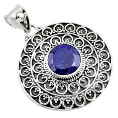 5.08cts natural blue sapphire 925 sterling silver pendant jewelry r9362
