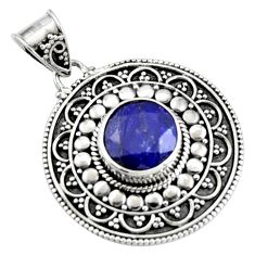 5.43cts natural blue sapphire 925 sterling silver pendant jewelry r9363