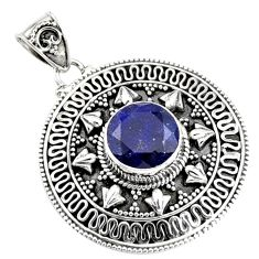 925 sterling silver 5.23cts natural blue sapphire round pendant jewelry r9364