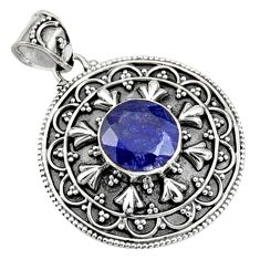 5.42cts natural blue sapphire 925 sterling silver pendant jewelry r9365