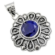 5.71cts natural blue sapphire 925 sterling silver pendant jewelry r9366
