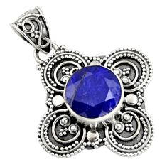 5.53cts natural blue sapphire 925 sterling silver pendant jewelry r9368
