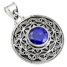 5.43cts natural blue sapphire 925 sterling silver pendant jewelry r9369