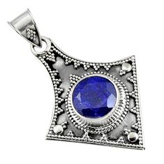 925 sterling silver 5.54cts natural blue sapphire round pendant jewelry r9370