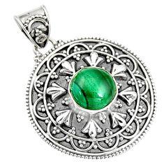3.29cts natural green malachite (pilot's stone) 925 silver pendant r9371