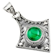 4.74cts natural green malachite (pilot's stone) 925 silver pendant r9372