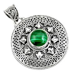 4.68cts natural green malachite (pilot's stone) 925 silver pendant jewelry r9377