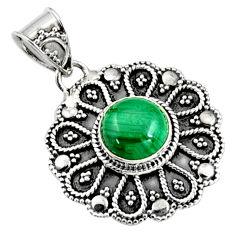 925 silver 3.42cts natural green malachite (pilot's stone) pendant jewelry r9379