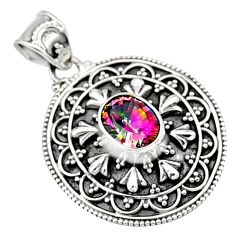 3.41cts multi color rainbow topaz 925 sterling silver pendant jewelry r9391