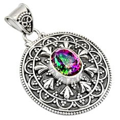 3.29cts multi color rainbow topaz 925 sterling silver pendant jewelry r9392