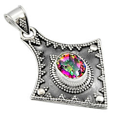 925 sterling silver 3.39cts multi color rainbow topaz oval pendant jewelry r9393