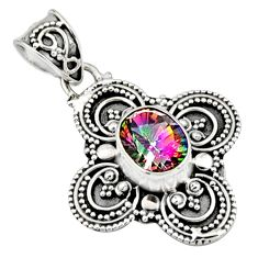 3.42cts multi color rainbow topaz 925 sterling silver pendant jewelry r9394
