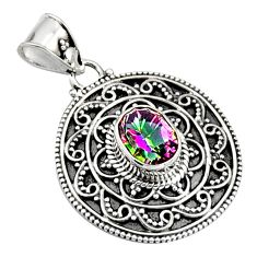 3.15cts multi color rainbow topaz 925 sterling silver pendant jewelry r9395