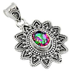 3.15cts multi color rainbow topaz 925 sterling silver pendant jewelry r9397