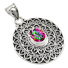 3.35cts multi color rainbow topaz 925 sterling silver pendant jewelry r9398