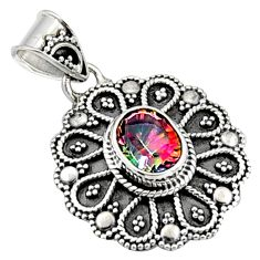 925 sterling silver 3.01cts multi color rainbow topaz oval pendant jewelry r9399
