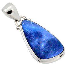 925 silver 7.22cts natural blue doublet opal australian fancy pendant r9713