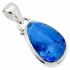 5.54cts natural blue doublet opal australian 925 sterling silver pendant r9721