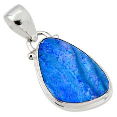 5.54cts natural blue doublet opal australian 925 sterling silver pendant r9732