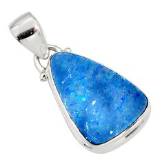 925 sterling silver 7.24cts natural blue doublet opal australian pendant r9739