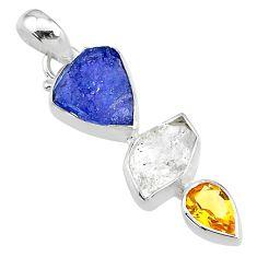 11.26cts natural citrine tanzanite herkimer diamond 925 silver pendant t10817