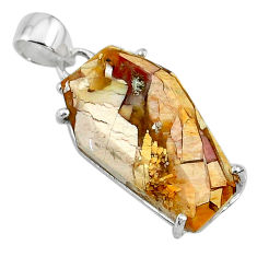 13.52cts coffin natural yellow brecciated mookaite 925 silver pendant t11887