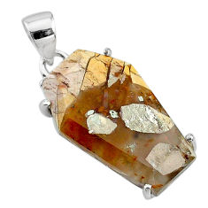 11.93cts coffin natural yellow brecciated mookaite 925 silver pendant t11890