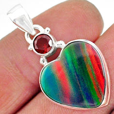 8.07cts volcano aurora opal (lab) garnet 925 silver pendant jewelry t16912