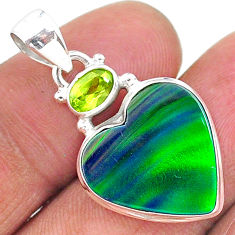 9.19cts northern lights aurora opal (lab) peridot 925 silver pendant t17002