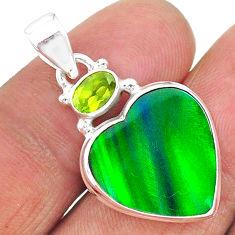 8.81cts northern lights aurora opal (lab) peridot 925 silver pendant t17005