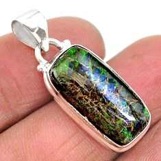 8.87cts natural multi color ammolite (canadian) 925 silver pendant t18943