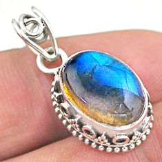 6.29cts natural blue labradorite 925 sterling silver pendant jewelry t46714